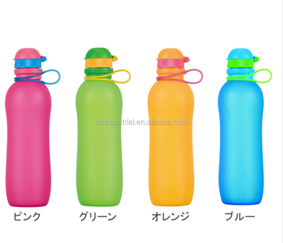 2016 Foldable Silicone Sports Water Bottle BPA Free FDA Approved 100% Food Grade Silicone