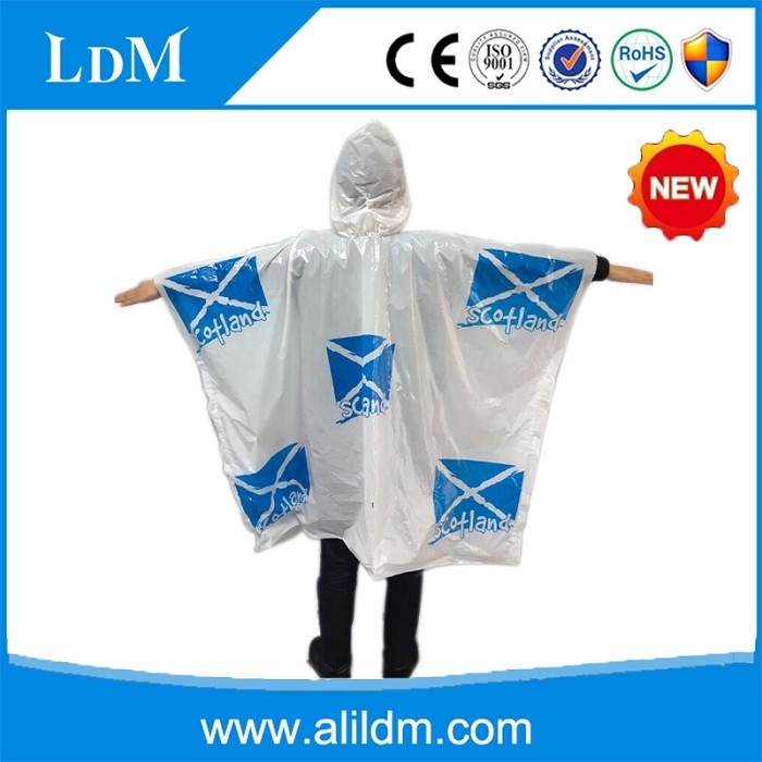 white disposable rain poncho/rain coat with hood and logo