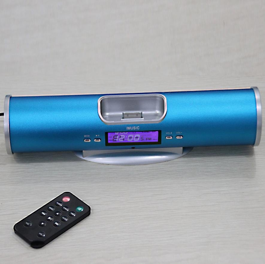 Portable speaker docking station for ipod with FM Radio alarm clock