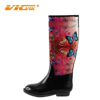 women tall wellies style neoprene rubber rain boots