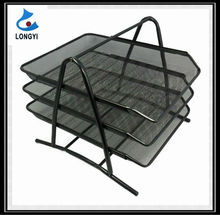 Factory Wholesale Metal Mesh Office Stationery Items Desk Organizer 3-Tier Document File Tray