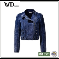 Designer clothing manufacturers in China girls biker leather jacket