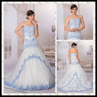 Guangzhou Stephanie Wedding Dress A6879 Exquisite Decorated Royal Blue and White Wedding Dresses