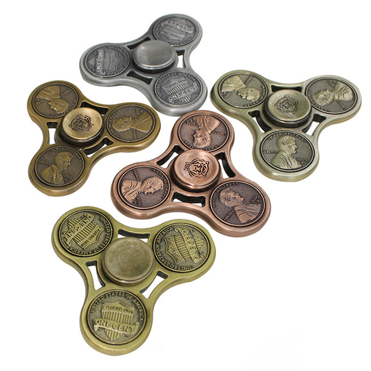 American Metal Brass Anxiety Relieves Toys Decorate Coins Beyblade US Dollar Penny Fidget Hand Spinner