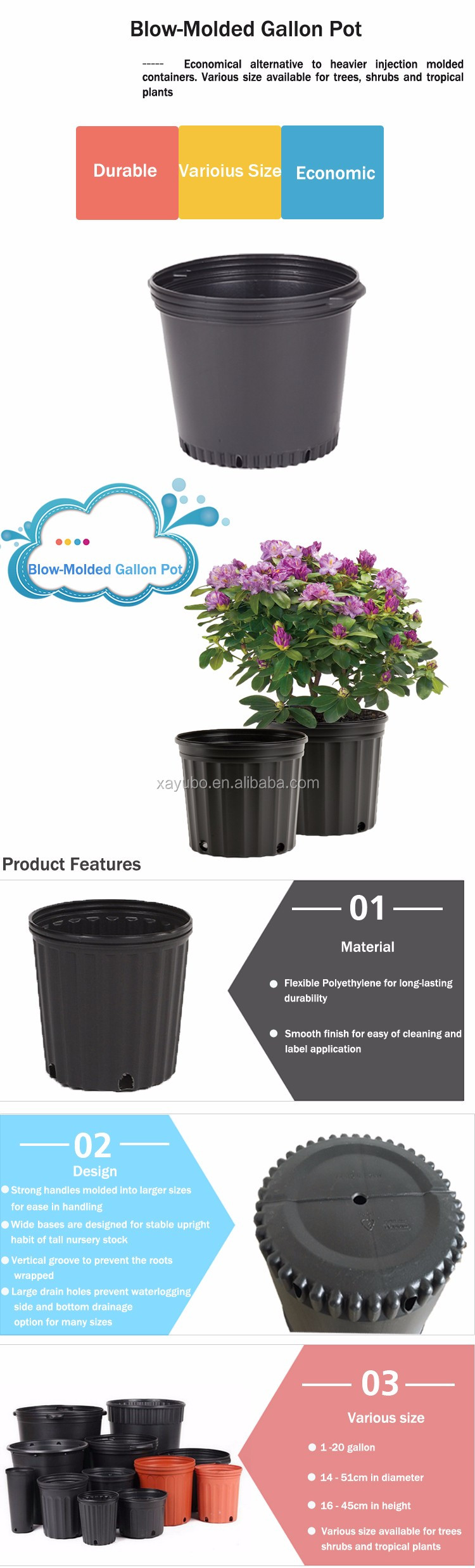 Bulk round plastic black flower pot nursery pot 15 gallon tree pot, container for plams