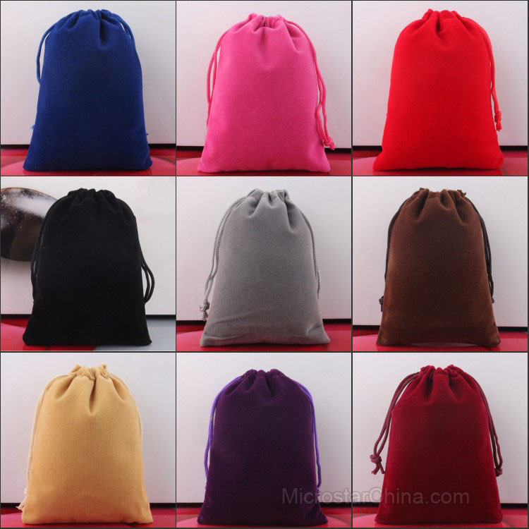 29 Sizes In Stock Custom Velvet Drawstring Printed Pouch Jewelry Velvet Pouches Wholesale