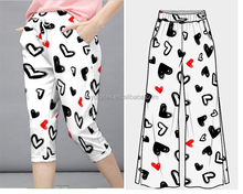 hot selling fabrics heart shaped bespoke design digital printing cotton item for casual pants
