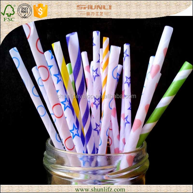 Different patterns party striped paper drinking straws for your choice food grade paper straws