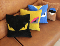 Wholesale Pretty Monster Lamb Wool Fur Cushion Sofa Pillow Cover Real Leather Back