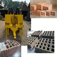 Manual small and Pressure 20KN small investment best red clay brick making machine with molding 2,3,4,5,6,12 block brick