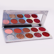 10 Color Custom Private Label Pressed Glitter Makeup Eyeshadow Palette Vegan Cosmetics