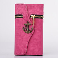 Corsair Anchor Zipper Pattern Wallet Stannd Flip Leather Case ID Card Slots for Samsung Galaxy S3 i9300