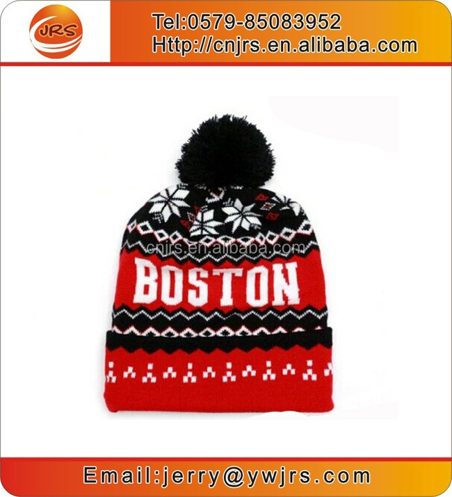 Wholesale comforable custom winter pom beanie hats/acrylic knit beanie cap/black white red beanie hat