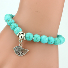 Wholesale New design small zin alloy lucky bird beads turquoise beads bracelet for kid