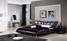 2017 Modern black leather bed by used Genuine leather for bedroom furniture