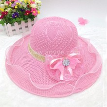 Hot style lace knitting summer beach flowers women's hat