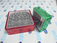 square gift tin box with snow window