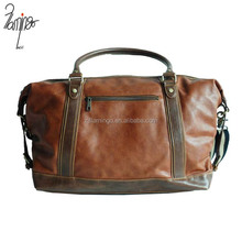 Yiwu factory direct sale coffee PU leather holdall bags travelling duffel bag