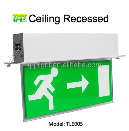 Emergency Exit Sign Light 5W 1.5Hour Fire LED Battery Backup Rechargeable Ceiling Recessed