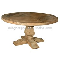 Chinese antique recycle natural elm wood folding rustic round dining table