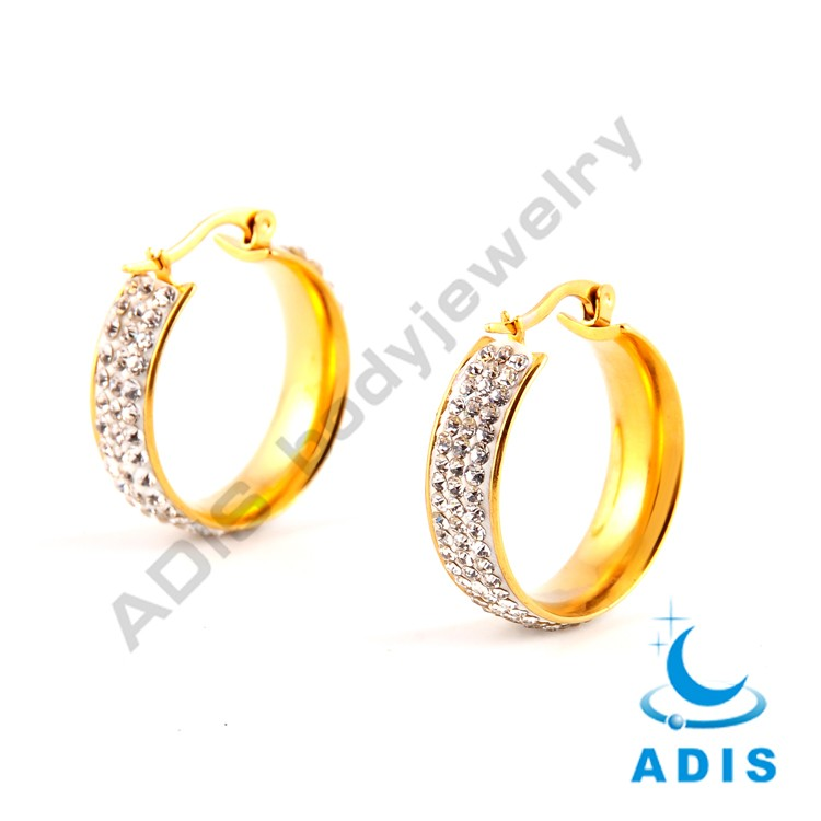 Newest design wholesale luxury stainless steel diamond jeweled gold body earring
