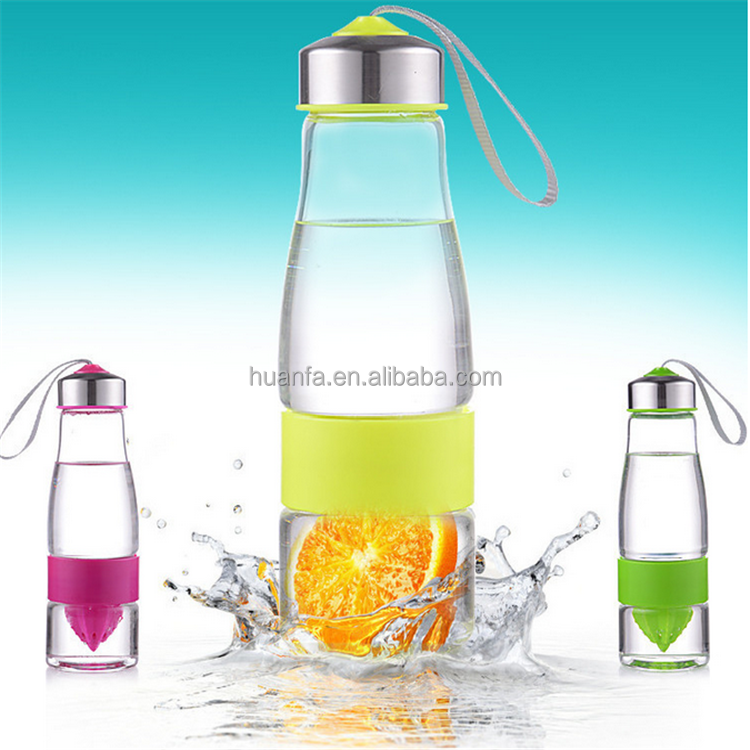 best selling products 2016 in USA Fantasy Life Lemon Juicer Glass Water Bottle Citrus with gift box wholesale