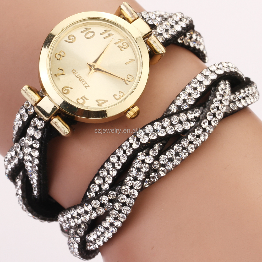 2015 New design leather wrap bracelet crystal ladies watch Hot quartz movt hot fix rhinestone latest wrist watch wholesale