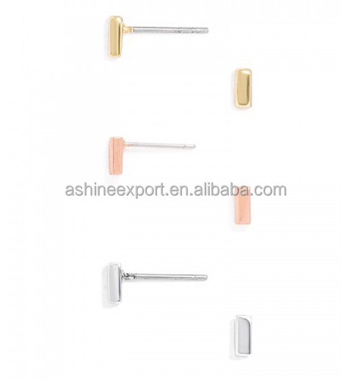 Fashion New design Gold Color Pave Double Side Bar Stud Earring