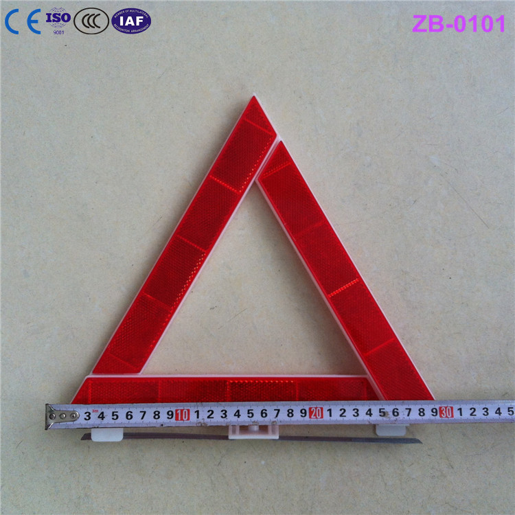 dangerous red reflective warning triangle with metal leg 30cm