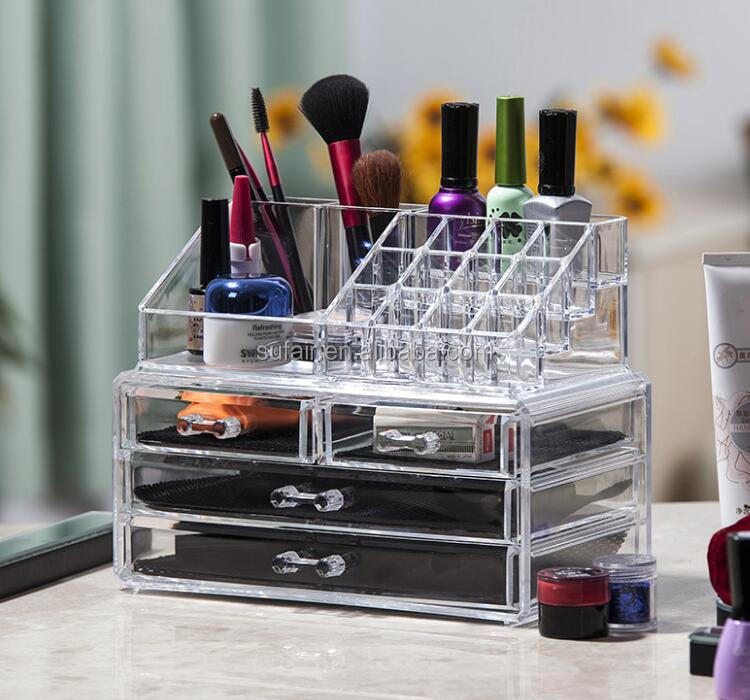 multipurpose acrylic plexiglass bedroom storage makeup drawer organizer