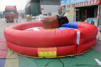 Inflatable bull riding machine, mechanical inflatable rodeo bull for kids and adults