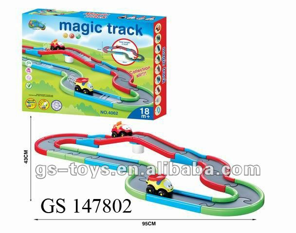 plastic B/O parking slot cartoon mini magic track car toy for children