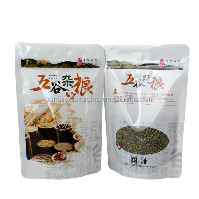 Top zipper printing customized standing up plastic food bags with ziplock