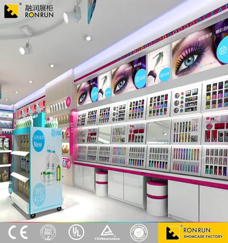 RCF1106 Hot sale volume of 600 thousand, high quality cosmetic makeup display showcase and cabinet design manufacture