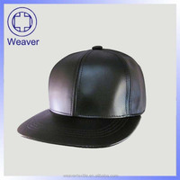Design Your Own Simple Cheap High Quality Black Faux Leather Plain Snapback Cap