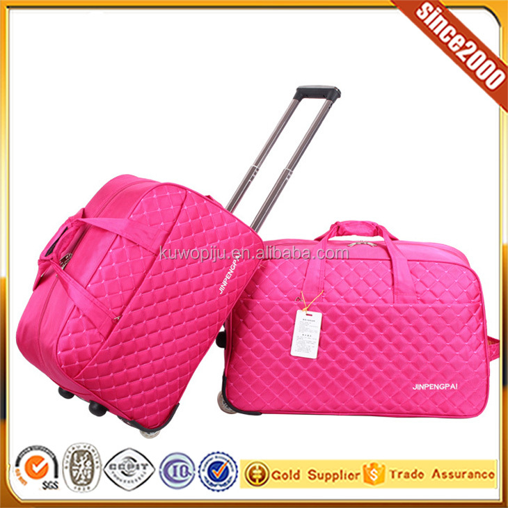 "pink quilted nylon 19"" Folding Trolley Tote Gym Bag Rolling Duffle with Wheels Travel"