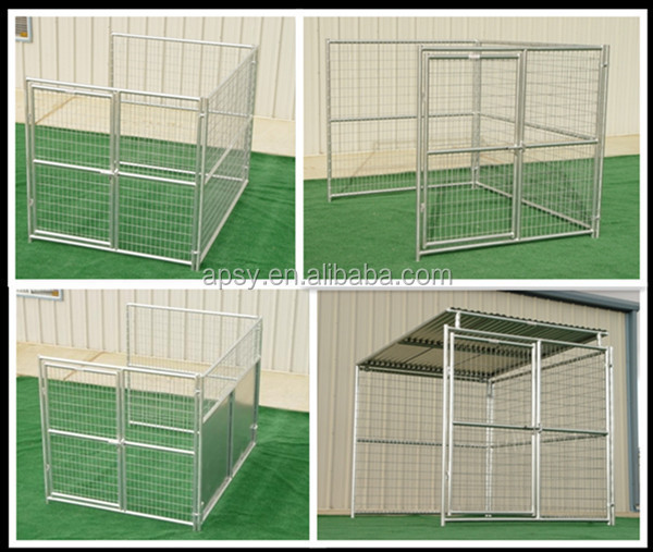 5'X10'X6' 3-runs welded mesh galvanized tube dog kennel enclousures with roof shelter and fight guard divider