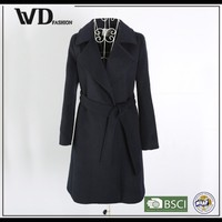 Latest fashion designs China manufacturer overcoat,long black women's overcoat