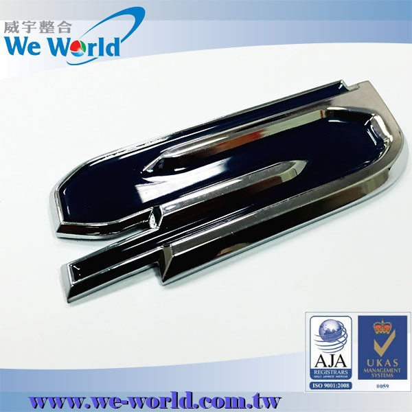 Super excellent glossy chrome plating metal logo design for cars