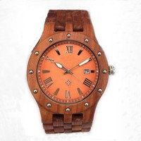 Natural Wooden Watch With Date/Day, High Quality Japan Movt Quartz Wrist Watch