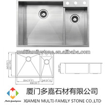 Handmade stainless steel kitchen sink for hotel HD3322B