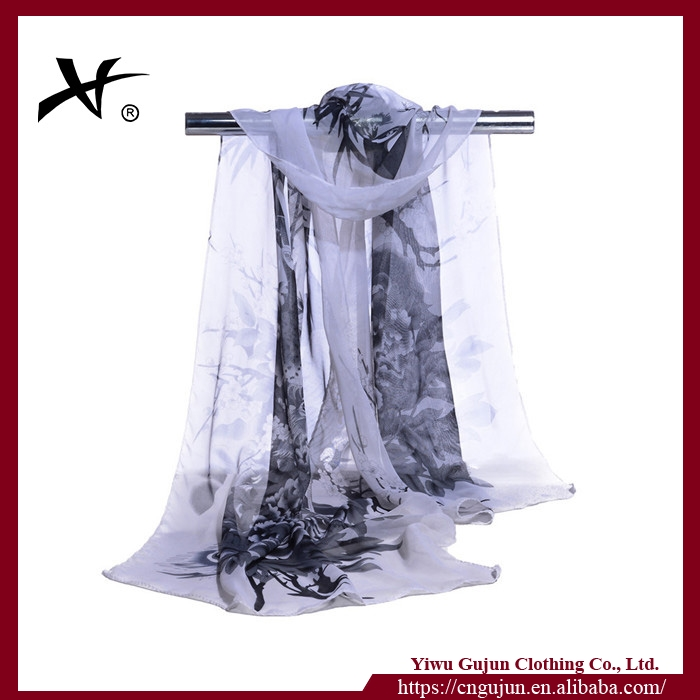 Yiwu factory cheap solid color chiffon scarf, summer beach dress,shawl scarf