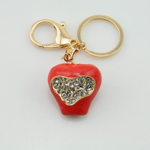 Big red apple shape design crystal stick personalized metal led crystal keychain