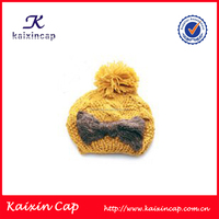 customized winter fashion bowknot cartoon knitted beanie hat with ball
