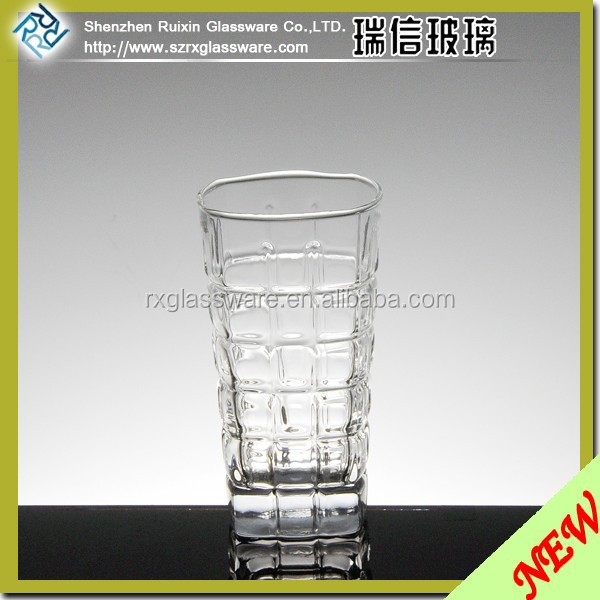Italy clear ribbed beer glass