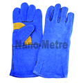 NMSAFETY blue cow leather glove full linning wroking gloves/safety gloves