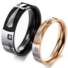 Bulk sale women and mens cross stainless steel rings wholesale jewelry