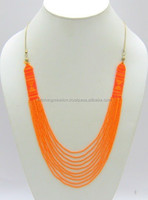 neon orange designer beaded imitation necklace