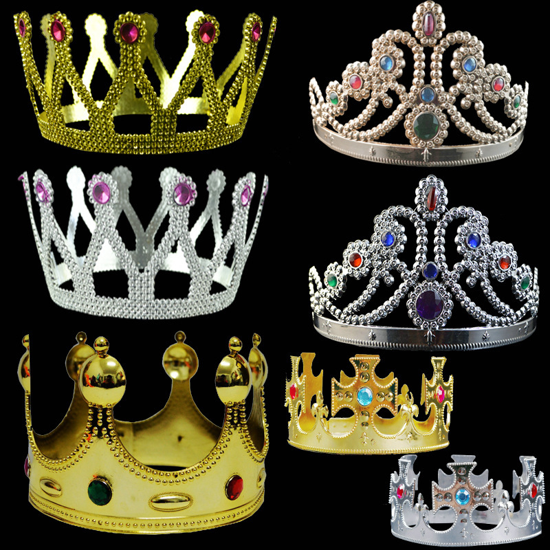 Hot Sale Cosplay Party Accessories Gold Plastic King and Queen Royal <strong>Crown</strong>