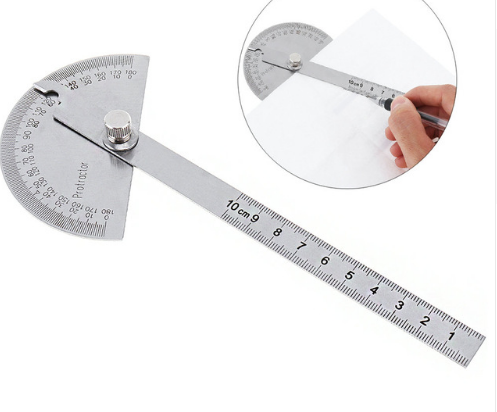 100mm 180 Degree Stainless Steel Protractor with Scale for Angle and Length Measuring / Architectural Designing